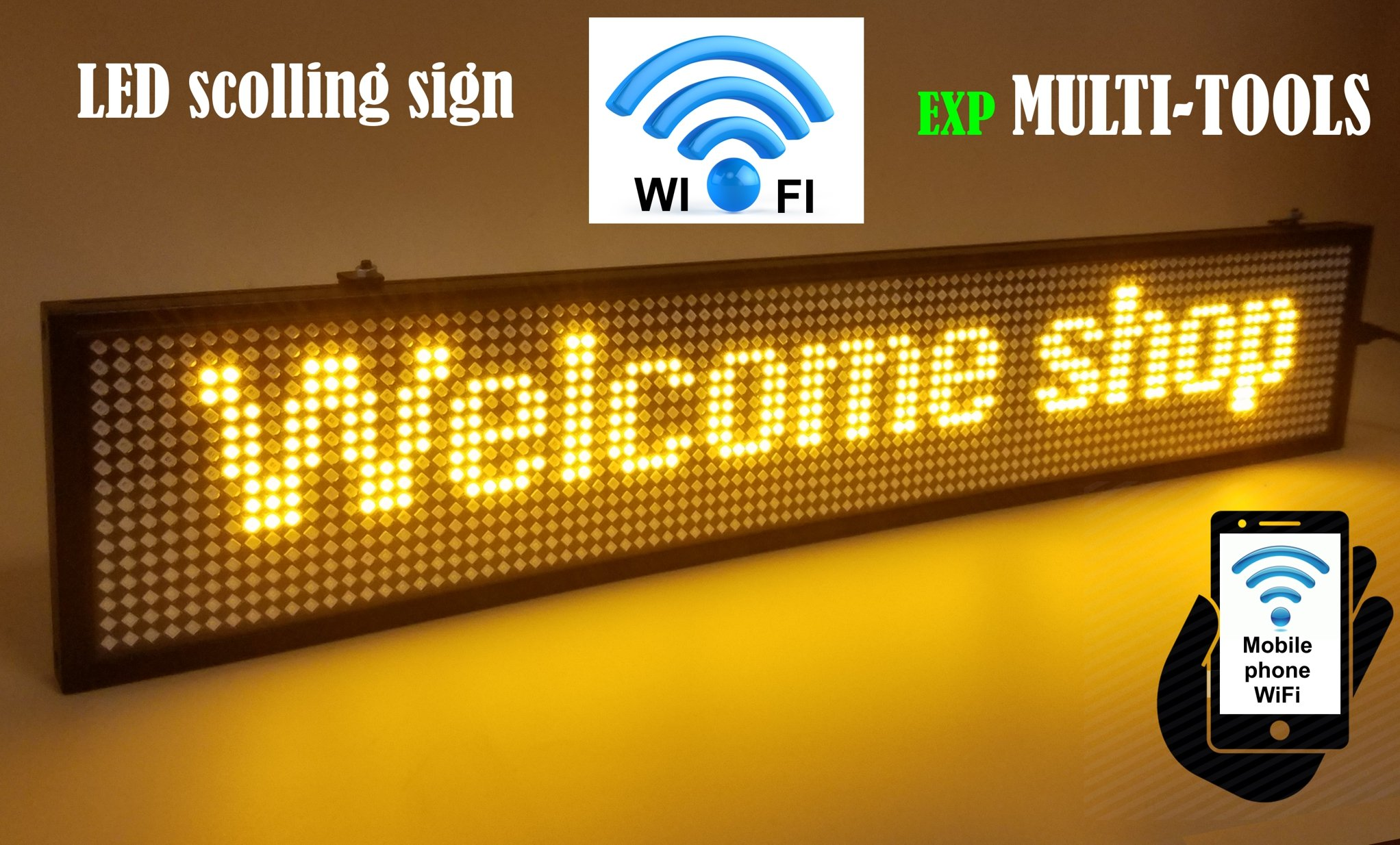 LED Display Yellow Color with WiFi Connection, LED Scrolling Message Sign, Bright and in New Light auminum housing