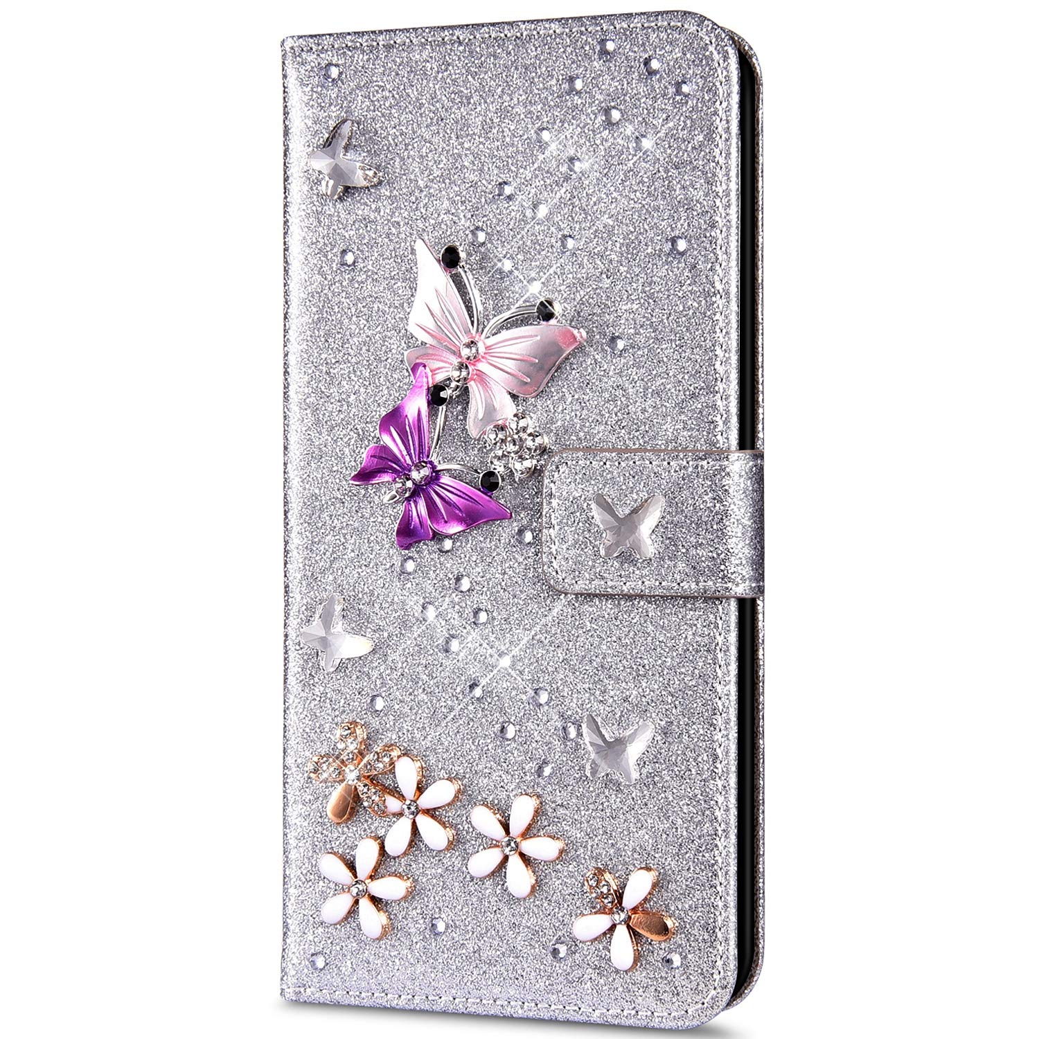 Case for iPhone X/iPhone XS Flip Case Premium PU Leather Wallet Case 3D Handmade Glitter Bling Shiny Diamond Butterfly with Card Slots Kickstand for iPhone X/XS,Silver by ikasus