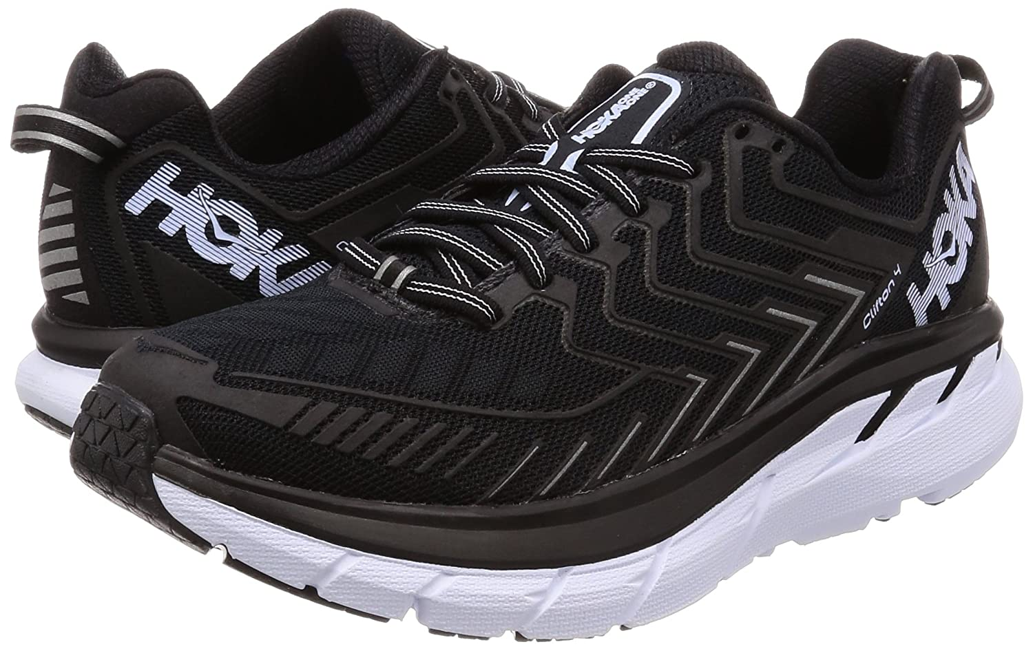 HOKA ONE Running ONE Women's Clifton 4 Running ONE Shoe B01MY0GE3D 5 B(M) US|Black/White 7228cc