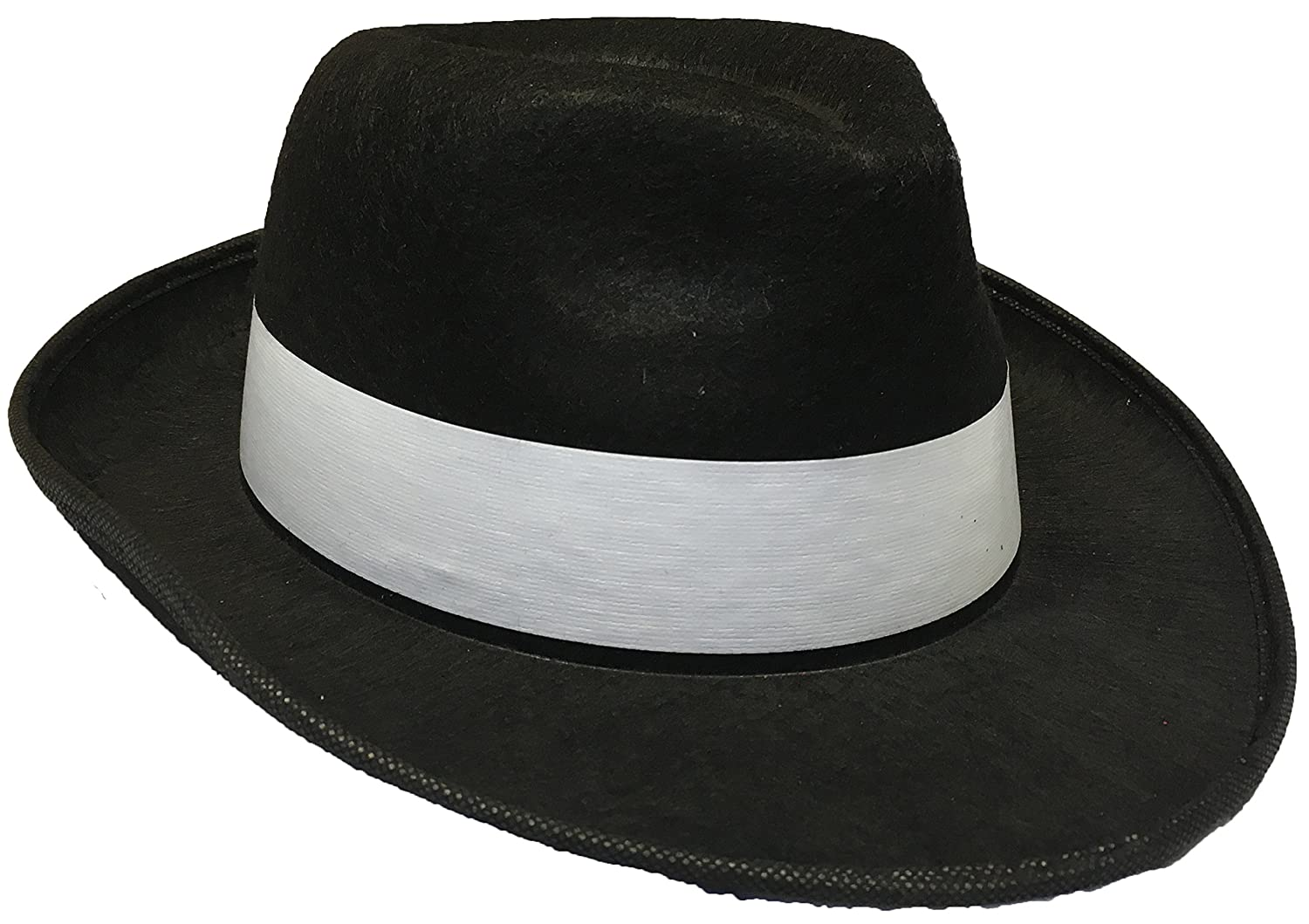 0549b18020f0b Adults Gangster Hat Black with White Band Mafia Fancy Dress Costume  Accessory  Amazon.co.uk  Toys   Games