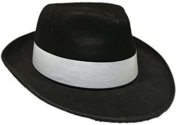 Adults Gangster Hat Black with White Band Mafia Fancy Dress Costume ... 9ca610329ffb