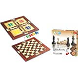 Kirat Wooden Chess and Ludo Box (Multicolour)