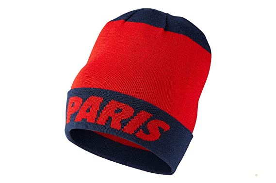 sale retailer 22c7c b09ef Image Unavailable. Image not available for. Color  Nike Mens Paris Saint  Germain PSG Knit Beanie (Challenge Red Navy) OSFM