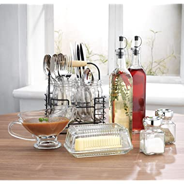 Home Essentials Invite 12 Piece Hostess Kitchen Set includes Utensil Caddy, Gravy Boat, Butter Dish, Salt & Pepper and Oil & Vinegar Set