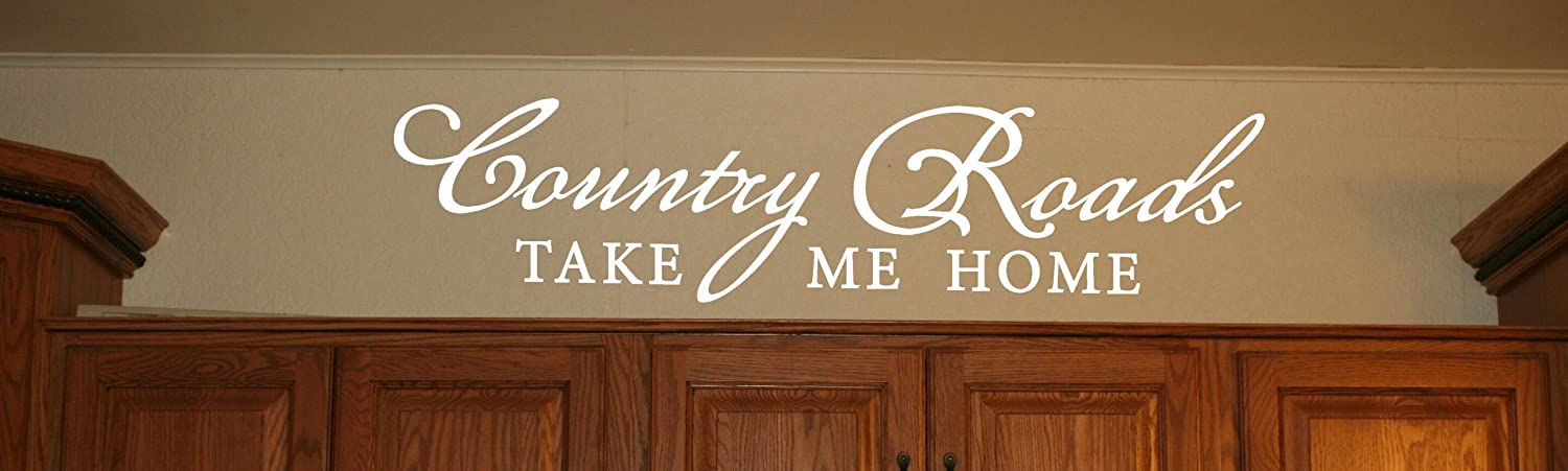Wall Decor Plus More Country Roads Take Me Home Wall Decal Inspirational Quote 32x7.5 White White
