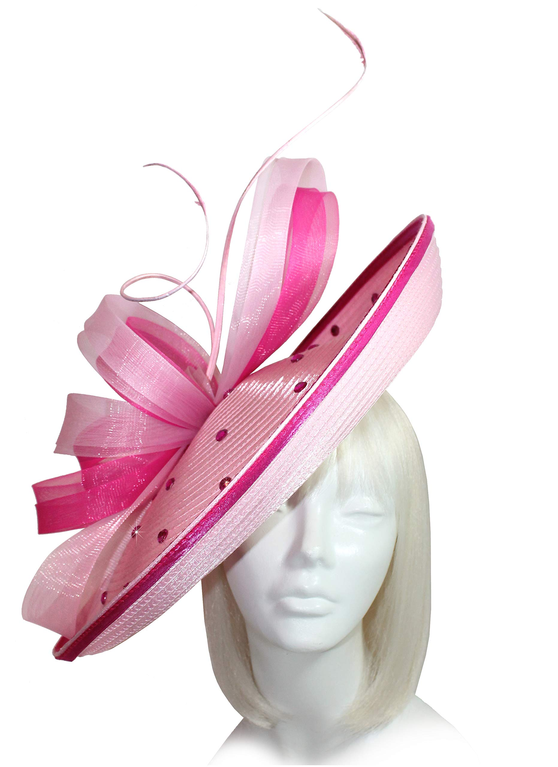 Mr. Song Millinery All-Season Kentucky Derby Profile Dish Headband Fascinator - AF112 Pink