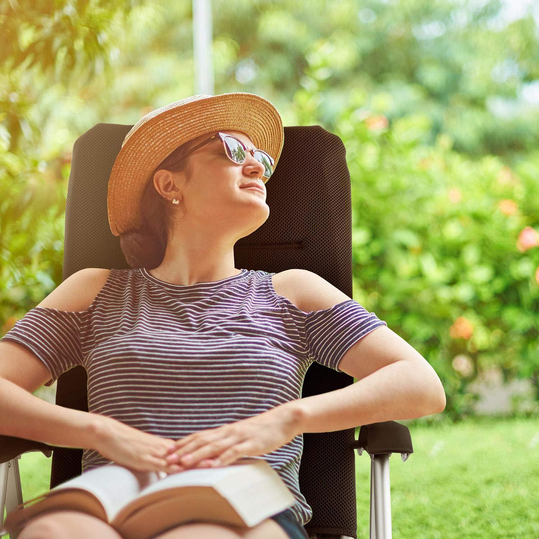 Blumfeldt Almagro Garden Chair /• Sedia da Giardino /• Schienale Regolabile in 6 Posizioni /• Comfort Foam con Imbottitura in Schiuma da 2 cm /• Gambe in Alluminio /• Pieghevole /• Nero