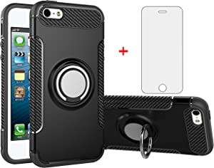 Phone Case for Apple iPhone 5S 5 SE 5SE 2016 with Tempered Glass Screen Protector Cover Stand Ring Holder Hybrid Cell Accessories iPhone5 iPhone5s iPhoneSE iPhone6se i 6SE iPhone5se Cases Men Black