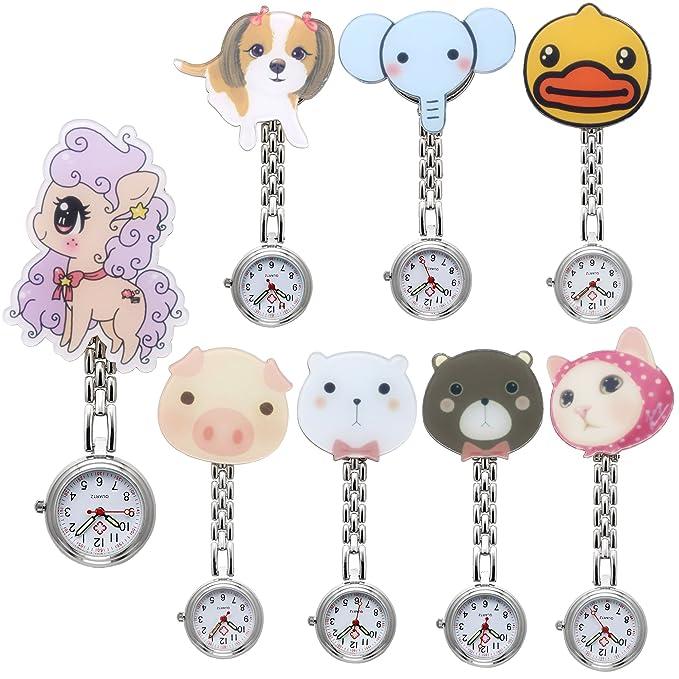 jsdde Relojes 8x Enfermeras Fob de Reloj Cuidado Reloj Dibujos Animados Animales Mujer Hombre Enfermera Reloj de Bolsillo Reloj de Cuarzo Relojes Set