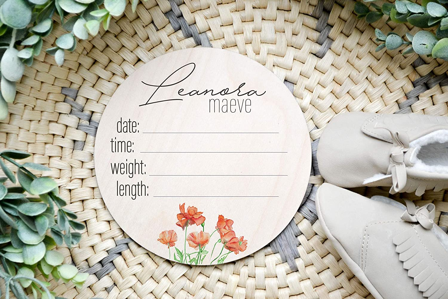 Pregnancy or Birth Announcement Baby Name Announcement Sign with Greenery Maternity or Newborn Photo Shoot Prop