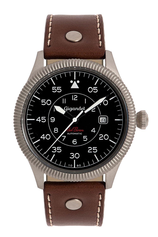 Gigandet Automatik Herren-Armbanduhr Red Baron I Fliegeruhr Uhr Datum Analog Lederarmband Braun Schwarz G8-002