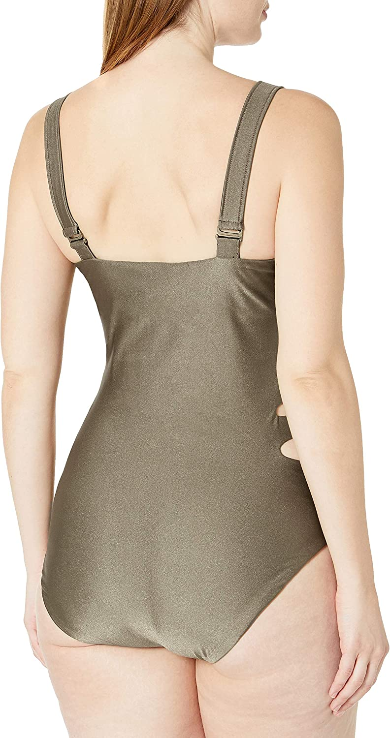 BECCA ETC Womens Plus Size Shimmer One Piece Swimsuit