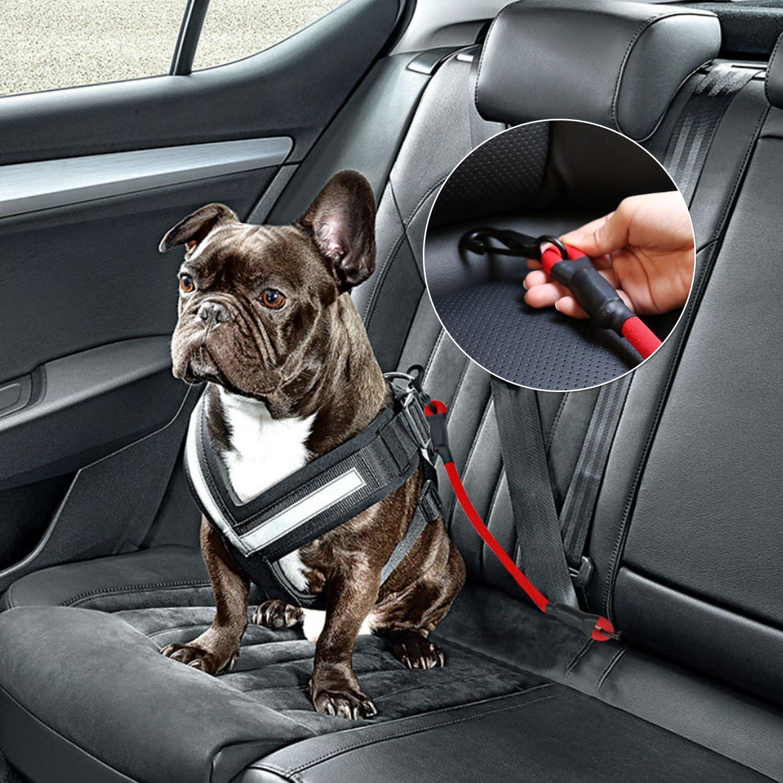 AMZNOVA Hunde Sicherheitsgurt Universal f/ür Autos Hochbelastbare Elastischer Hundegurt mit Clip//Haken f/ür Alle Hunder und Katzen