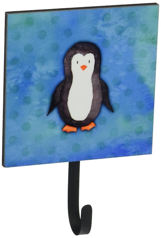 Carolines Treasures Polkadot Penguin Watercolor Wall Hook Small Multicolor