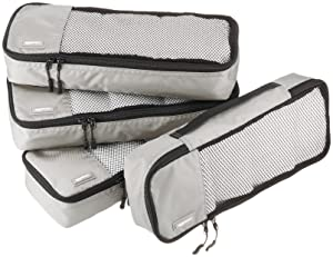 AmazonBasics 4-Piece Packing Cube Set - Slim, Gray