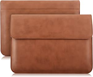 """MoKo 13 Inch Laptop Sleeve Case Compatible with MacBook Air 13-inch Retina A1932 (2016-2020), MacBook Pro 13.3"""" 2016-2019 A2159 A1989 A1706 A1708, PU Leather Envelope Case with Document Pocket, Brown"""