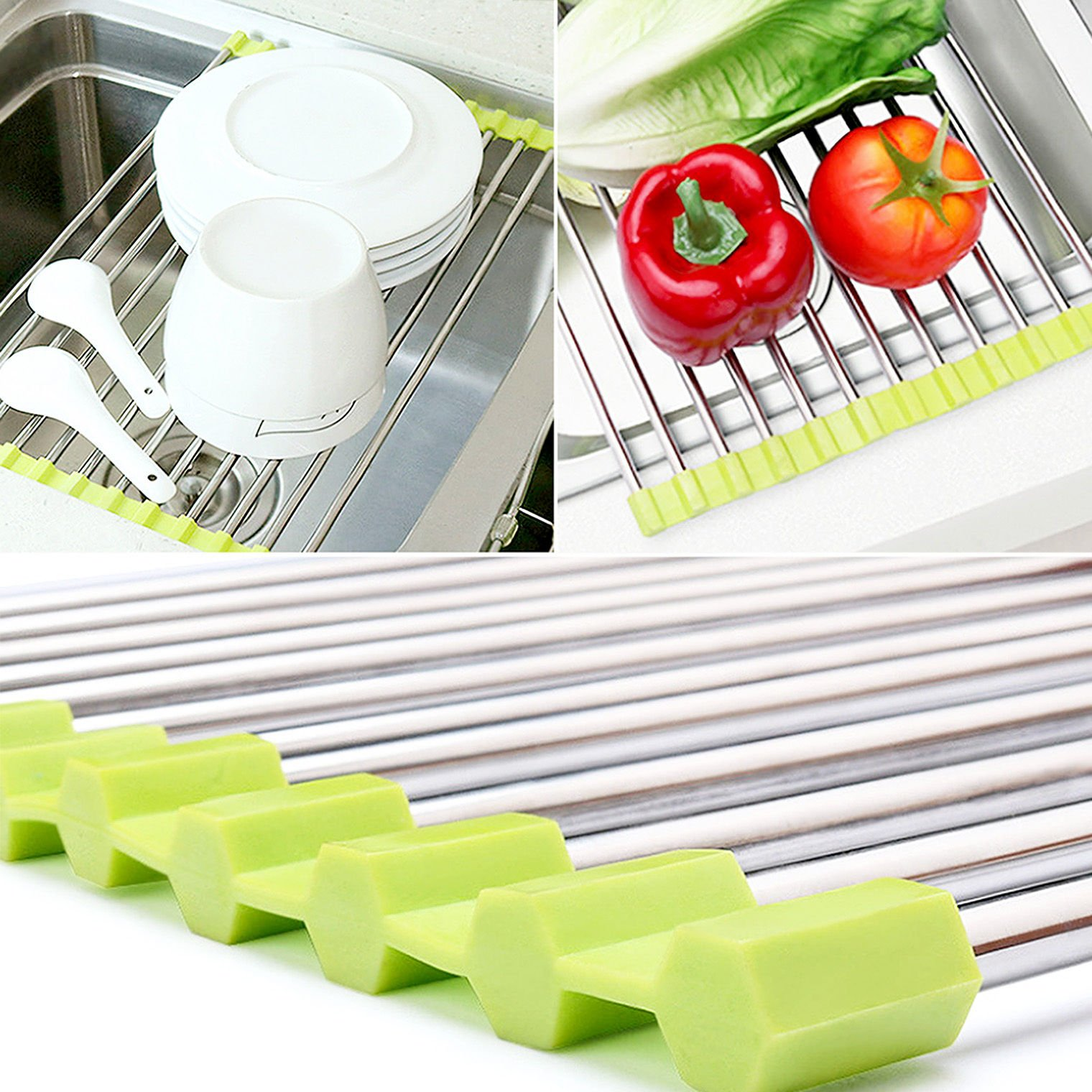 MAZIMARK--Sink Storage Dish Drying Rack Holder Fruit Vegetable Drainer Colanders Kitchen by MAZIMARK