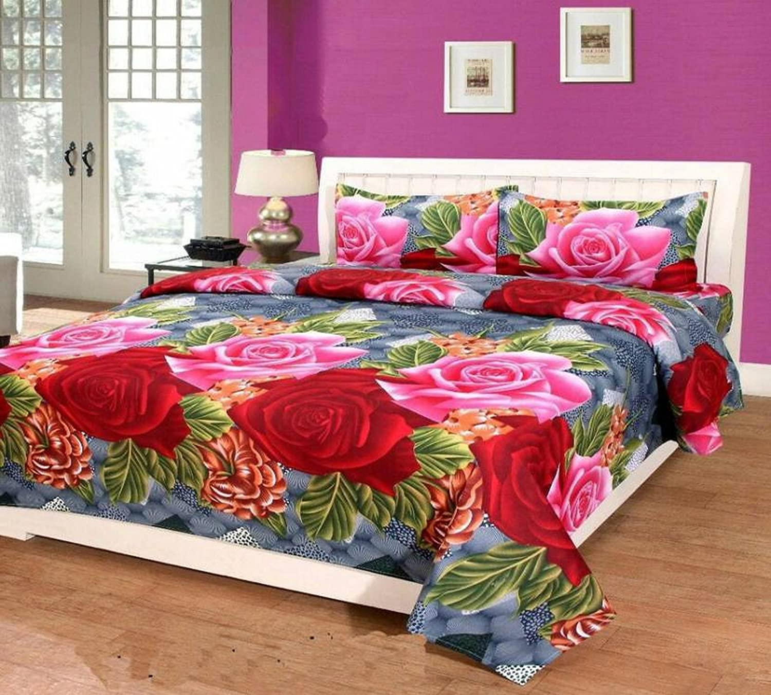 486edf7a4e2230 Buy Supreme Home Collective 144 TC Microfibre Double Bedsheet with 2 Pillow  Covers - Red Online at Low Prices in India - Amazon.in