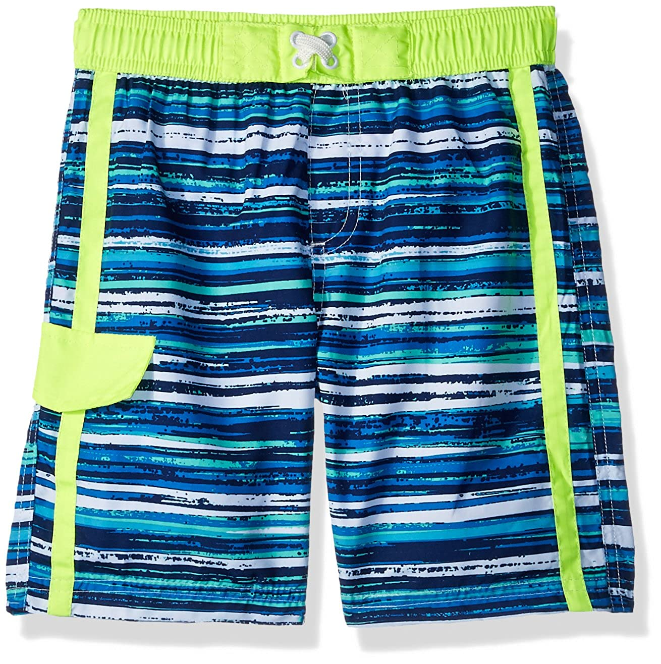iXtreme Boys' Stripe with Texture Swim Trunk IX809433-ROY-4