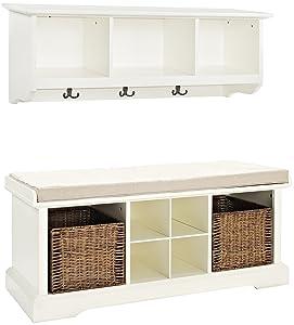 Crosley FurnitureBrennan Entryway Storage Bench and Hanging Shelf Set, White