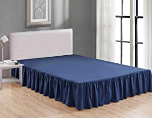 Sheets & Beyond Wrap Around Solid Microfiber Luxury Hotel Quality Fabric Bedroom Gathered Ruffled Bedding Bed Skirt 14 Inch Drop (King, Navy)