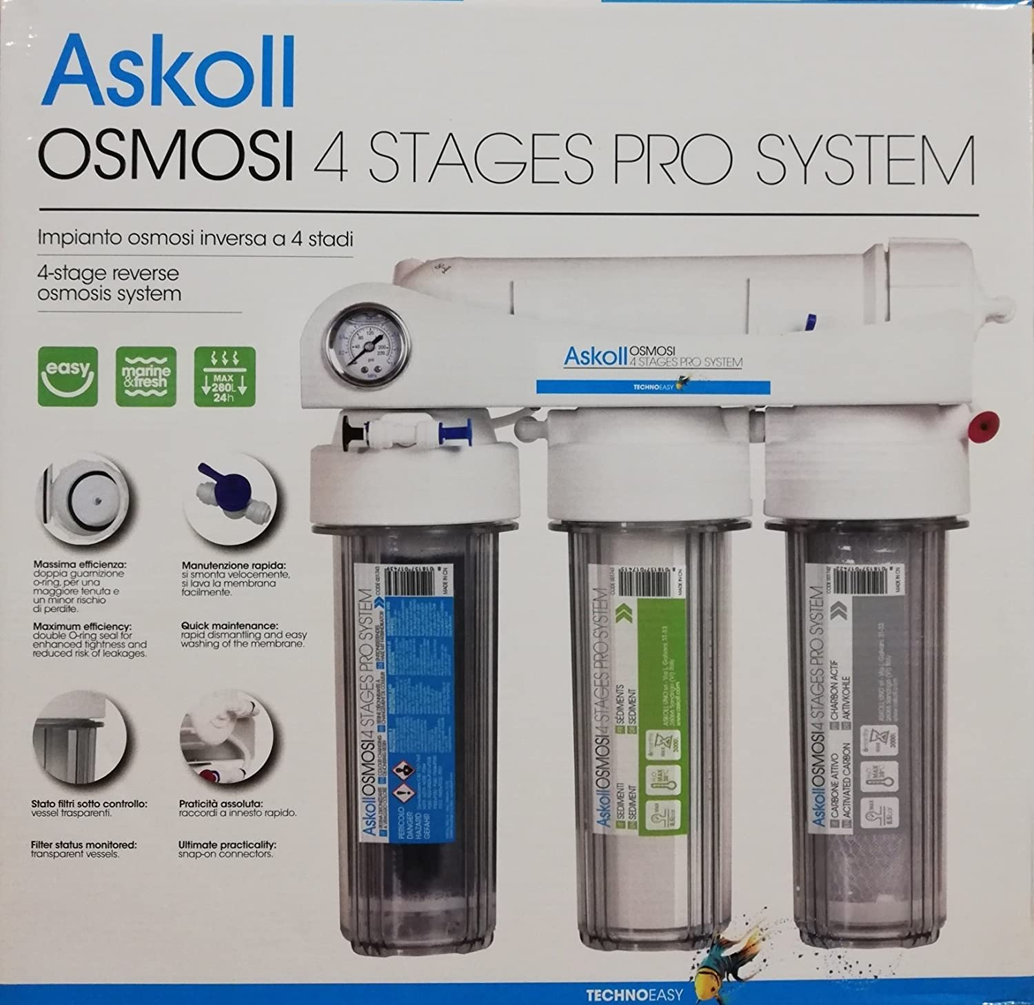 Askoll 001740 Reverse Osmosis System 4 STADI PRO SYSTEM for Aquariums