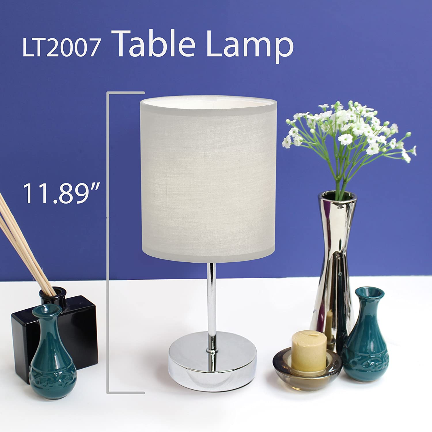 Simple Designs LT2007-WHT Chrome Mini Basic Table Lamp with Fabric ...
