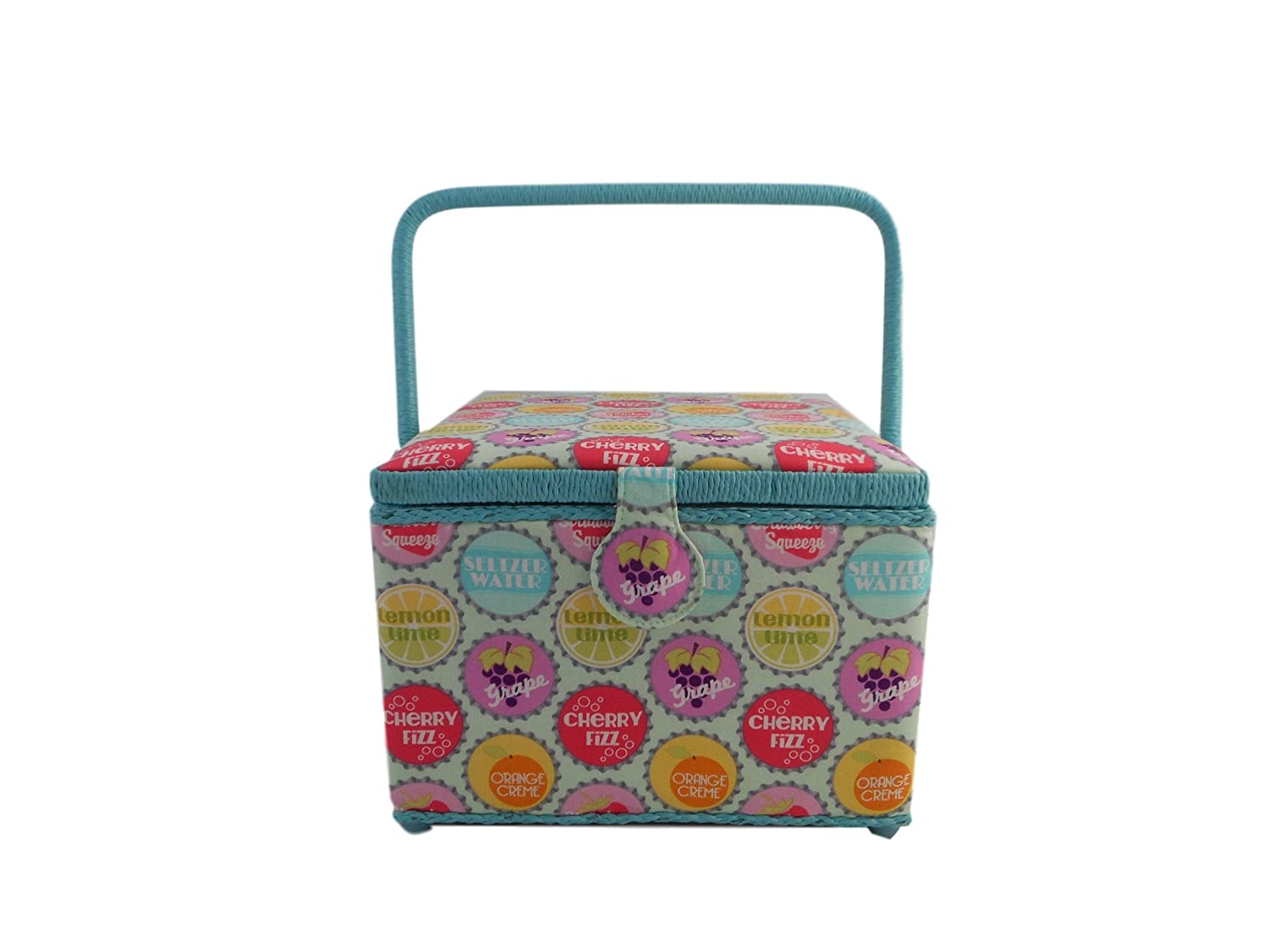 Dritz St Jane Square Sewing Basket (10x10x7, Soda Caps)
