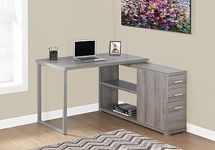 Monarch Left Or Right Facing Corner Computer Desk Dark Taupe