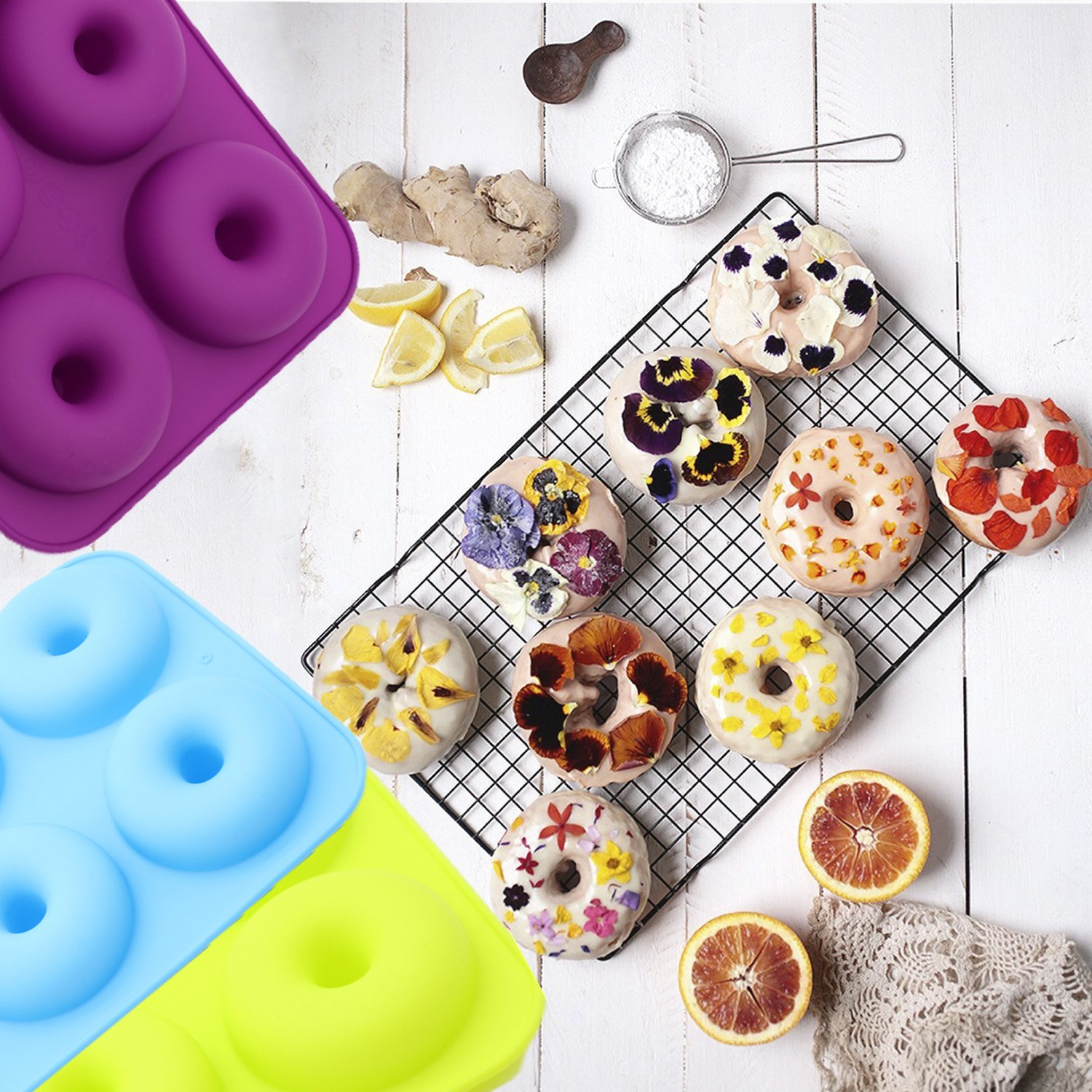 Ainko Donut Pan,6 Cup Non-Stick Baking Molds Set of 3 Silicone Baking Molds for Donuts,Durable Baking Kitchen Accessories Easy to Clean by Ainko (Image #3)