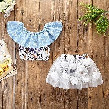 Infant Baby Girl Off Shoulder Floral Ruffle Tops 3D Flower Applique Tulle Skirt