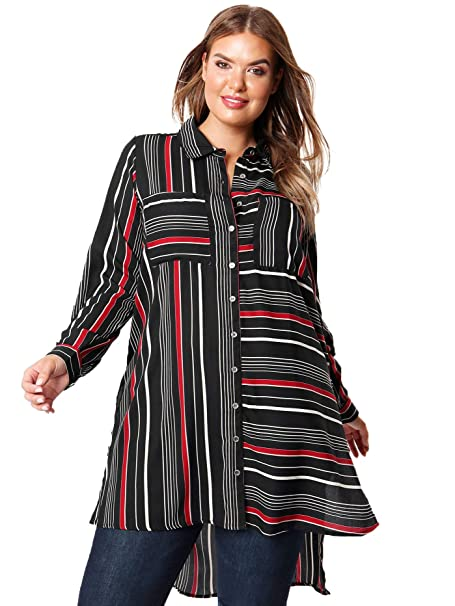 c5a5488b344589 Lovedrobe Koko Women's Red and Black Stripe Panel Shirt Ladies Plus Size  16-26 (