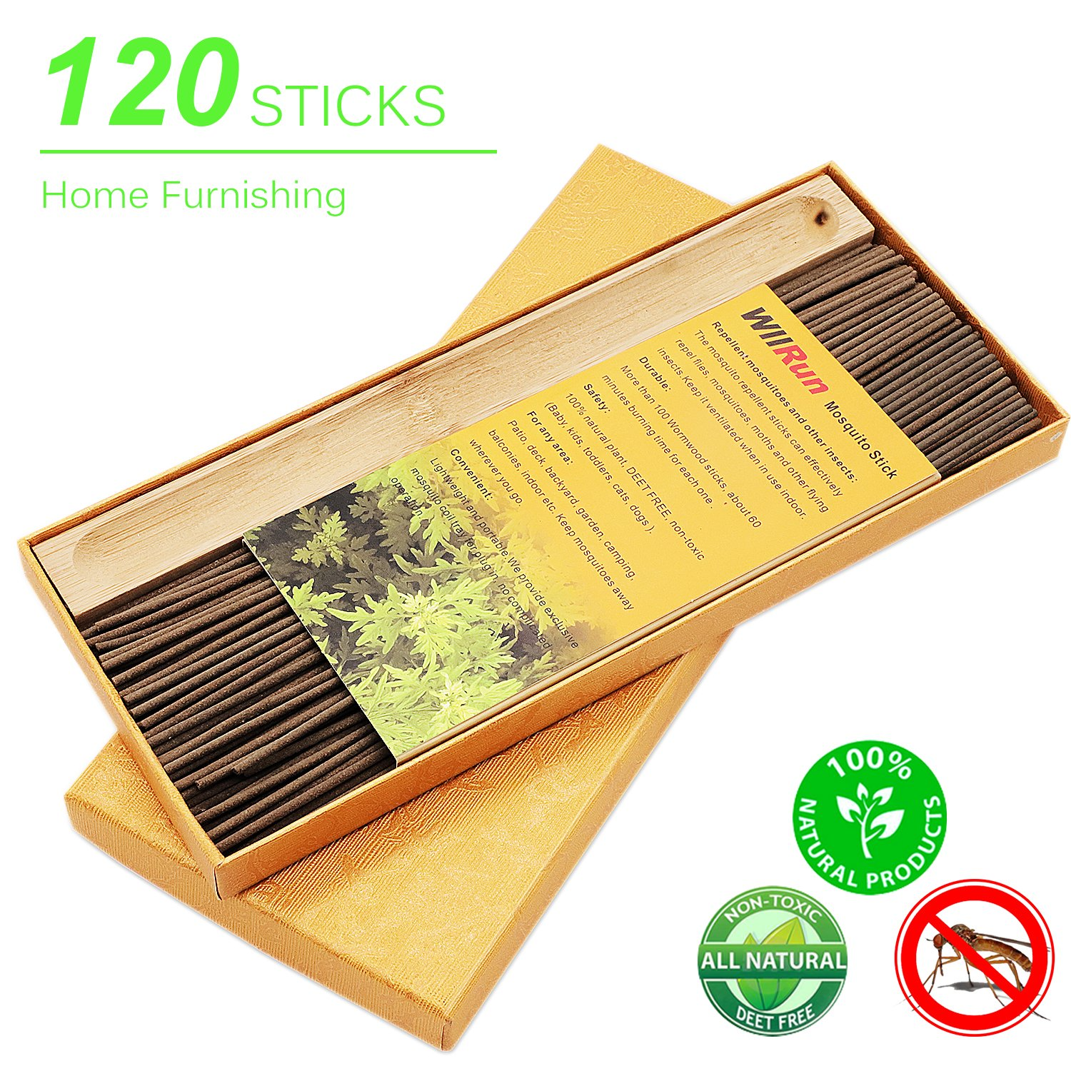Amazon.com : WllRun Mosquito Repellent Sticks, DEET Free Outdoor Anti  Mosquito Repellent, 100% Natural With Artemisia Vulgaris Non Toxic Insert  Incense ...