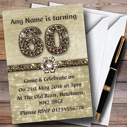 Invitaciones de cumpleaños para 60 años, titanio, dorado ...