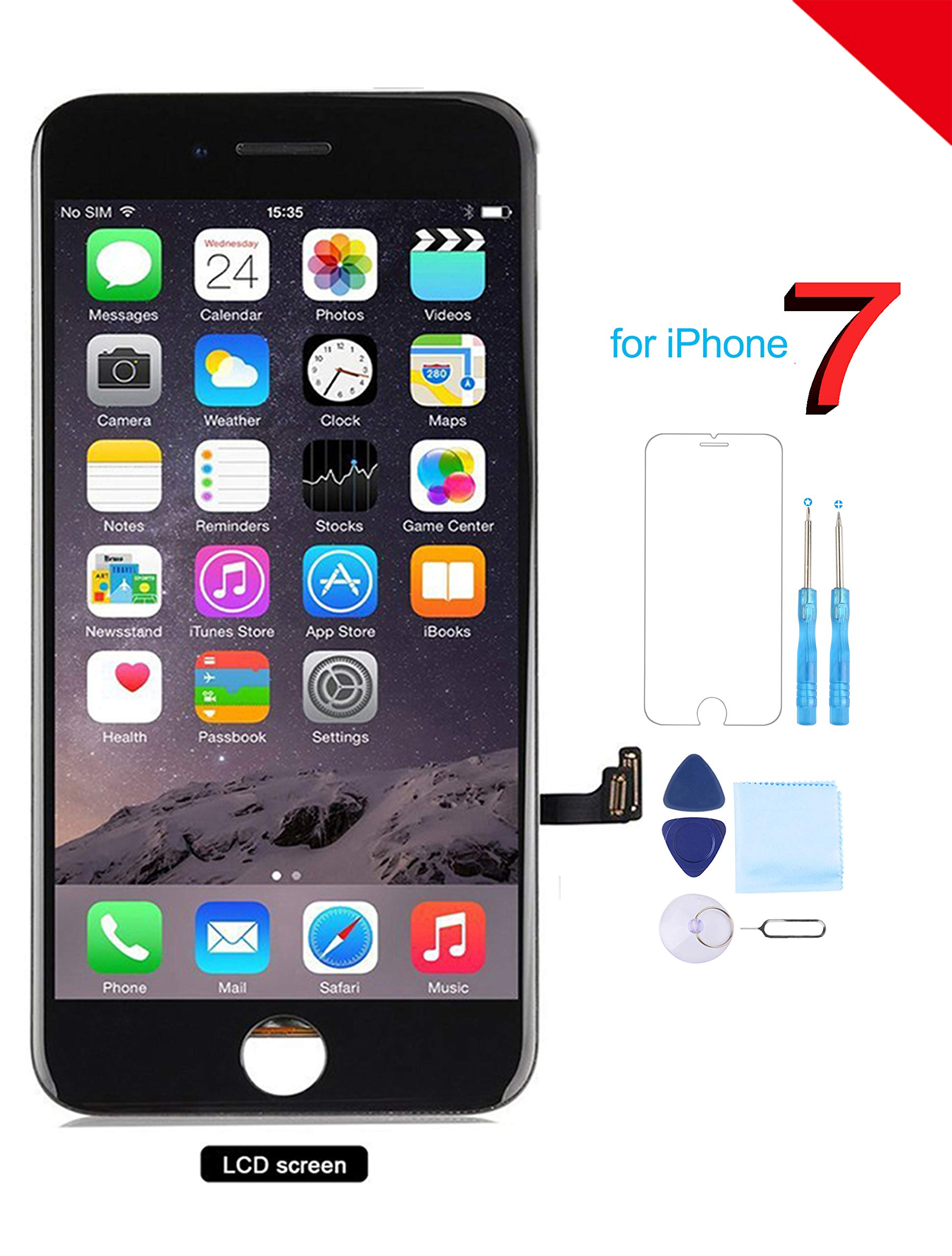 Coobetter for iPhone 7 Screen Replacement LCD 3D Touch Screen Digitizer Display with Free Repair Tool Kits + Free Screen Protector Black (A1660, A1778, A1779) by Coobetter