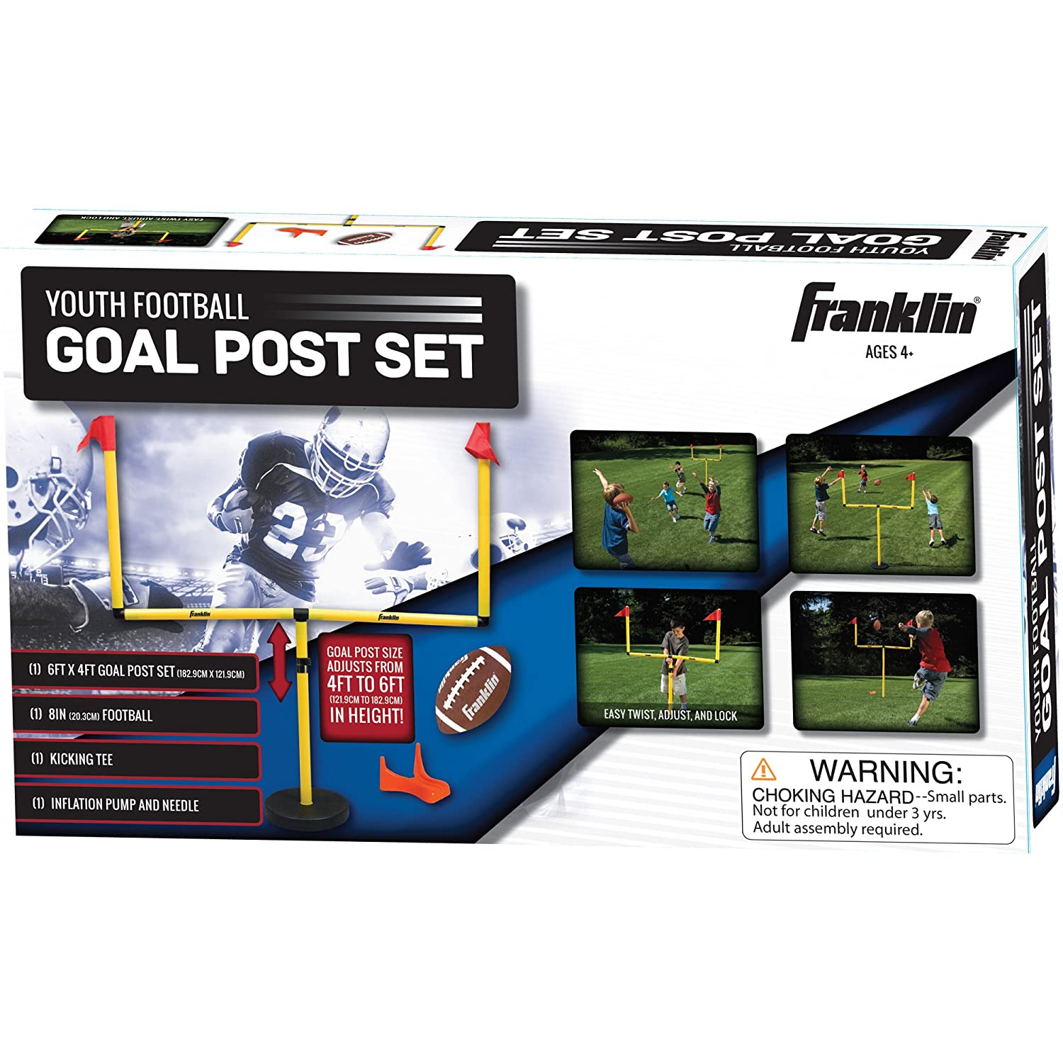 amazon com franklin sports go pro youth football goal post set