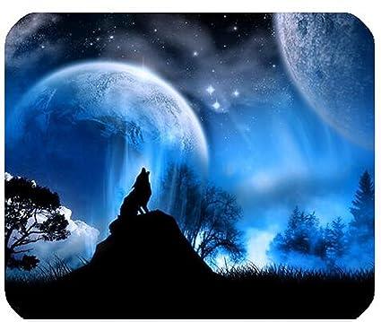 Bleu Loup Sous La Lune Rectangulaire De Souris Gaming 180 Mm