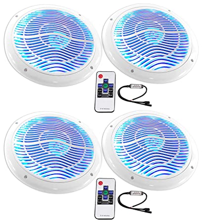 Rockville RMC65LS 6.5 1200w Silver Marine Speakers//Multi Color LED+Remote 4