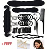 Noova 79 Pcs Hair Accessories Topsy Tail Hair Tools Bun Maker Ponytail Holder Ties Bobby Pins Elastics Hair Braid Magic Twist Hair Styling for Women & Girls Quality DIY Kit Accesorios Para Mujeres