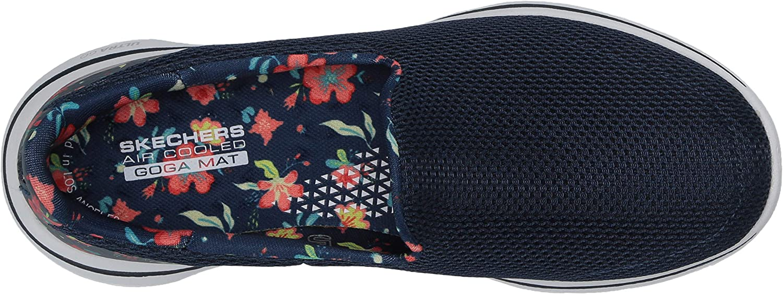 Skechers Go Walk 5-Trendy, Baskets Femme Bleu Marine Multicolore