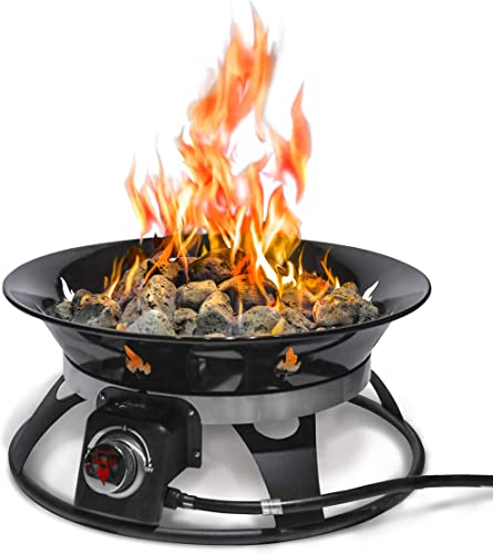 Outland Firebowl 863 Cypress Outdoor Portable Propane Gas Fire Pit with Cover & Carry Kit