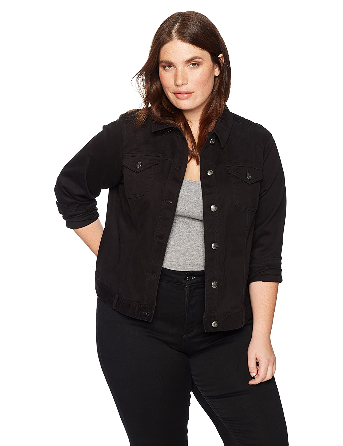 Skyes the Limit Womens Size Plus Cropped Denim Jacket