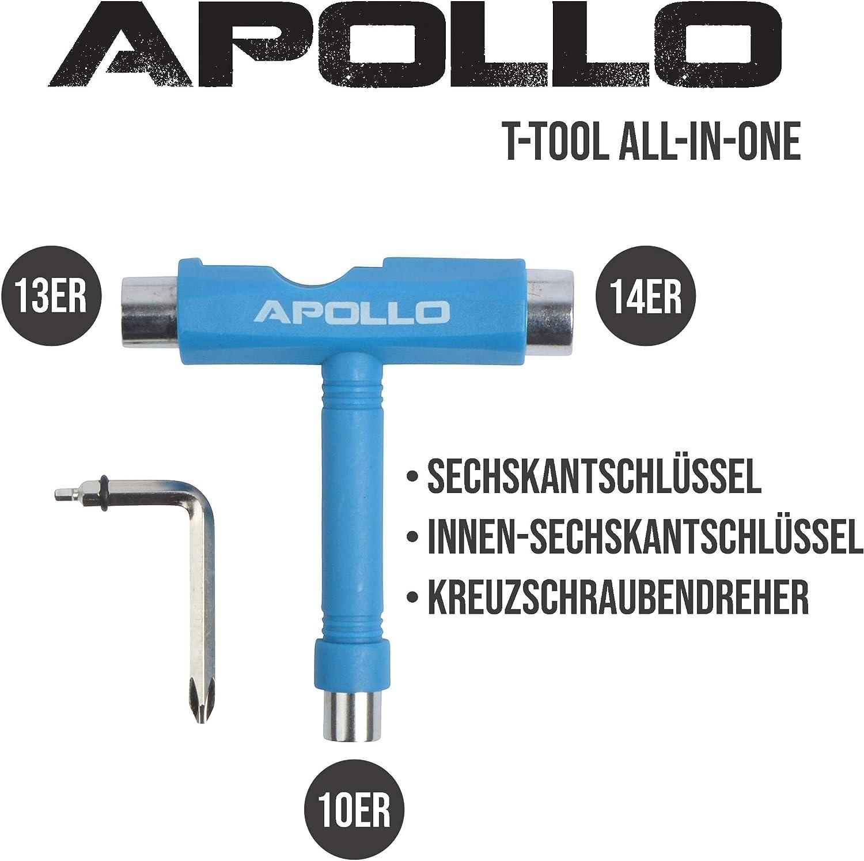 All-In-One Multifunktions Sechskantschl/üssel Apollo T-Tool Schraubenschl/üssel f/ür Skateboard Scooter Longboard