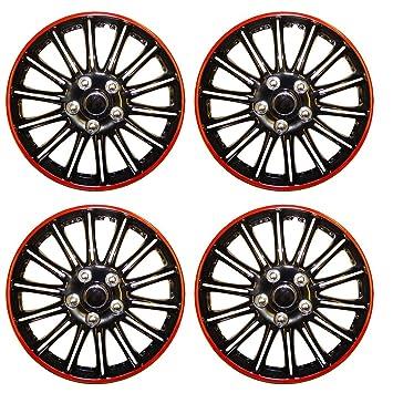 """Set de 4 tapacubos 14 """"negro/rojo/Hub Caps para Citroen C1"""