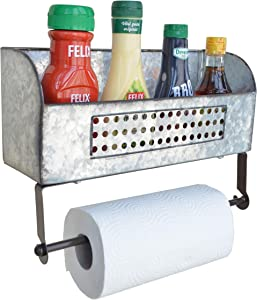 ShabbyDecor Paper Towel Holder, Spice Rack and Multi-Purpose Farmhouse Shelf,Galvanized Metal Wall Mounted Storage for Kitchen and Bathroom