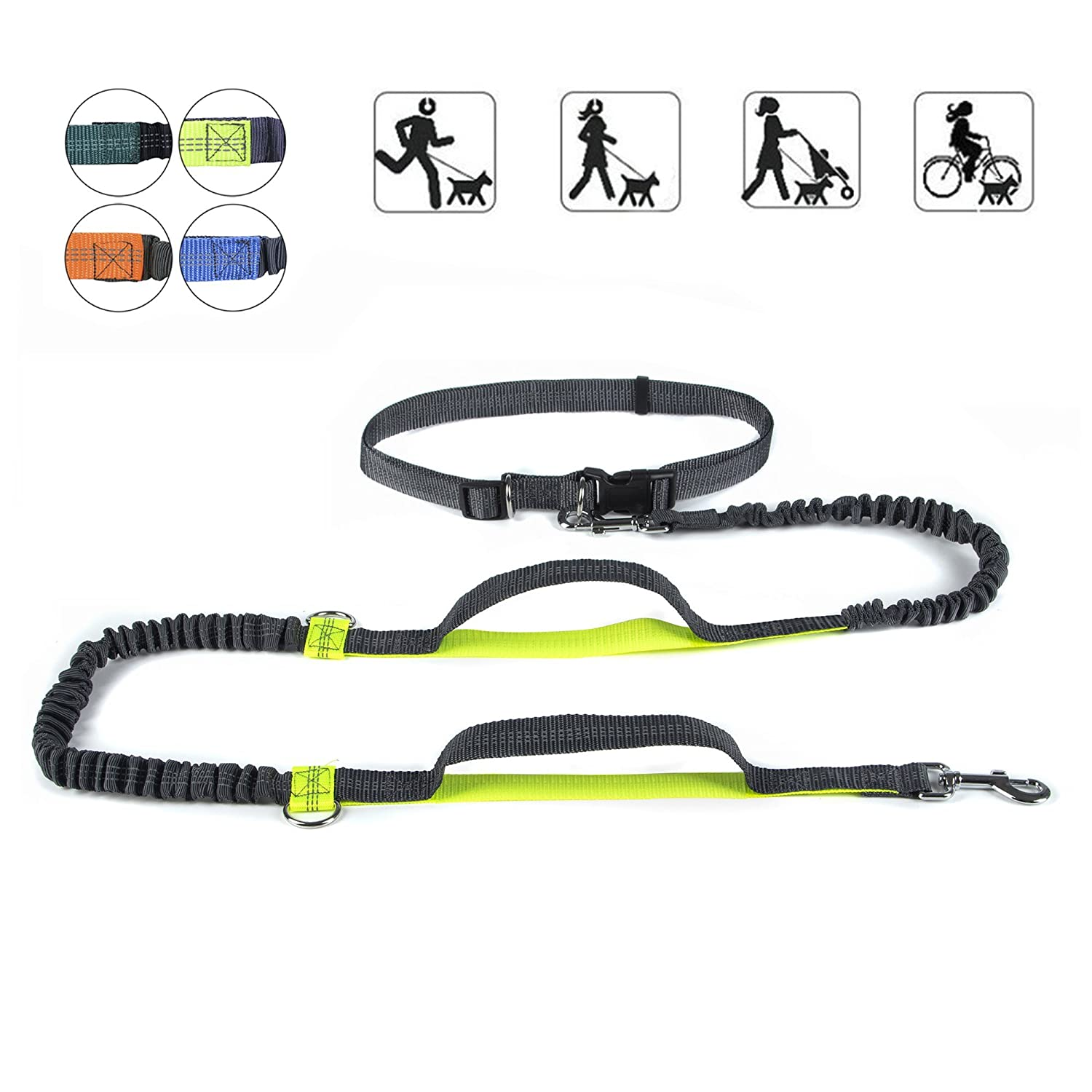 "PetforCity Hands Free Dog Running Leash Dual Handle Control Shock Absorbing Bungee Waist Wearing Adjustable Belt Fits up to 47"" YouTop"