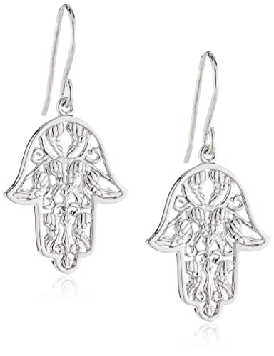 Engelsrufer Women's 925 Sterling Silver Rhodium Plated Hand of Fatima Earrings zwGRJZ