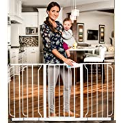 Regalo 58-Inch Extra WideSpan Walk Through Baby Gate, Bonus Kit, Includes 6-Inch, 8-Inch and 12-Inch Extension, 4 Pack of Pressure Mounts and 4 Pack of Wall Mounts