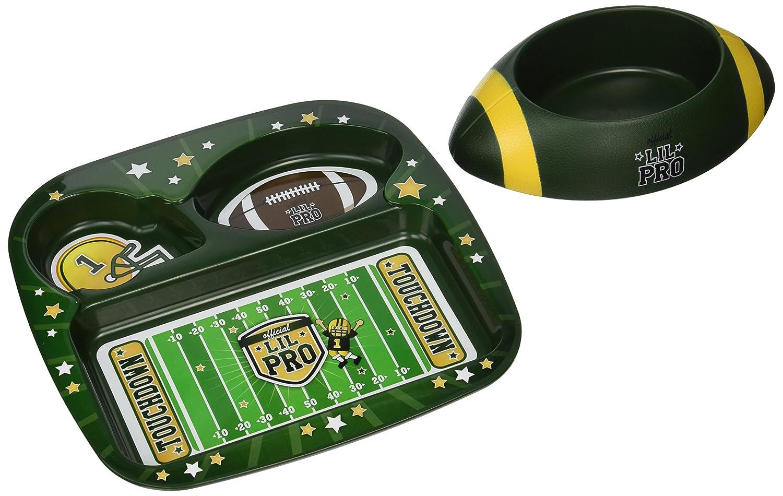 (Football Green) Lil Pro 1-30513 Footbowl Pet Feeding Set, Green