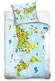 AmazingShop World Map Atlas Cotton Bedding Set Kids Children's Duvet Cover 140 x 200cm Single Size